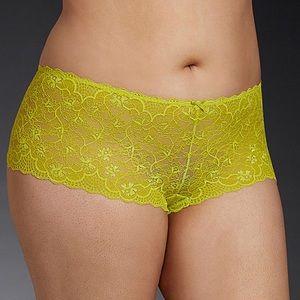 Torrid Plus Neon Lime Yellow Lace Cheeky Panty